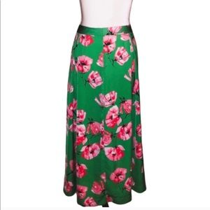 Who What Wear Green Floral Polyester Spring Skirt